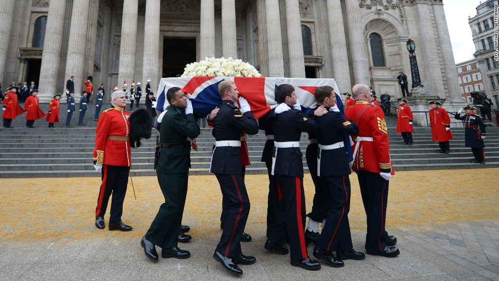 "Members of the British armed services carry the coffin of former <a href=""http://www.cnn.com/2013/04/17/world/europe/uk-margaret-thatcher-funeral/index.html"">Prime Minister Margaret Thatcher</a> away from St Paul's Cathedral in London after a ceremonial funeral on Wednesday, April 17. Thatcher, 87, died after a stroke on April 8. She was prime minister from 1979 to 1990."