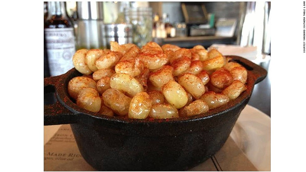 At Yardbird Southern Table & Bar in Miami, crunch-fried hominy is the snack that keeps drinkers sated, free of charge.