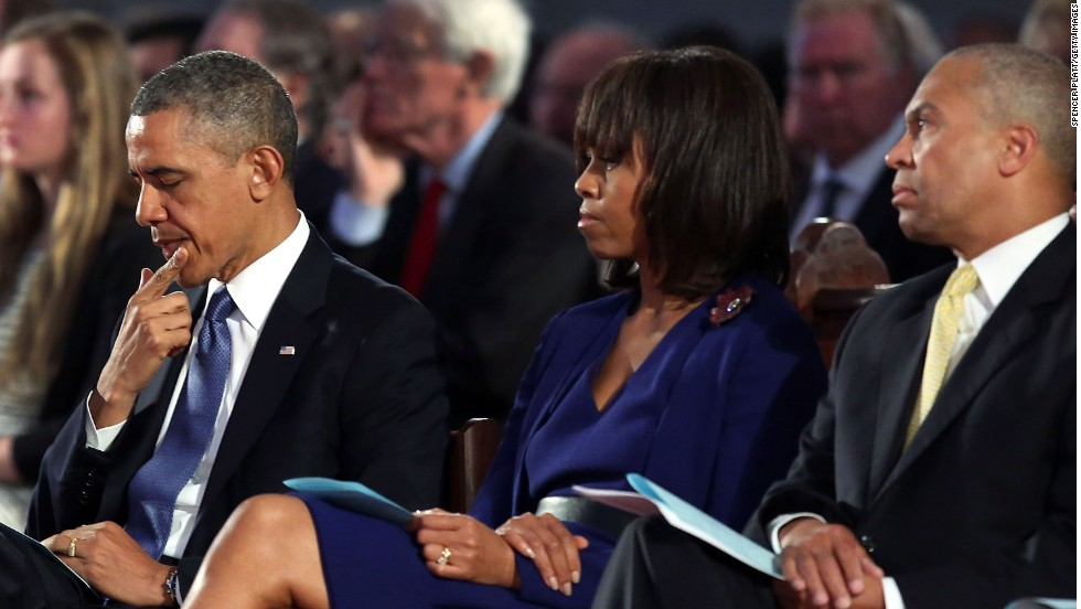 Obama, first lady Michelle Obama and Massachusetts Gov. Deval Patrick attend the interfaith prayer service.