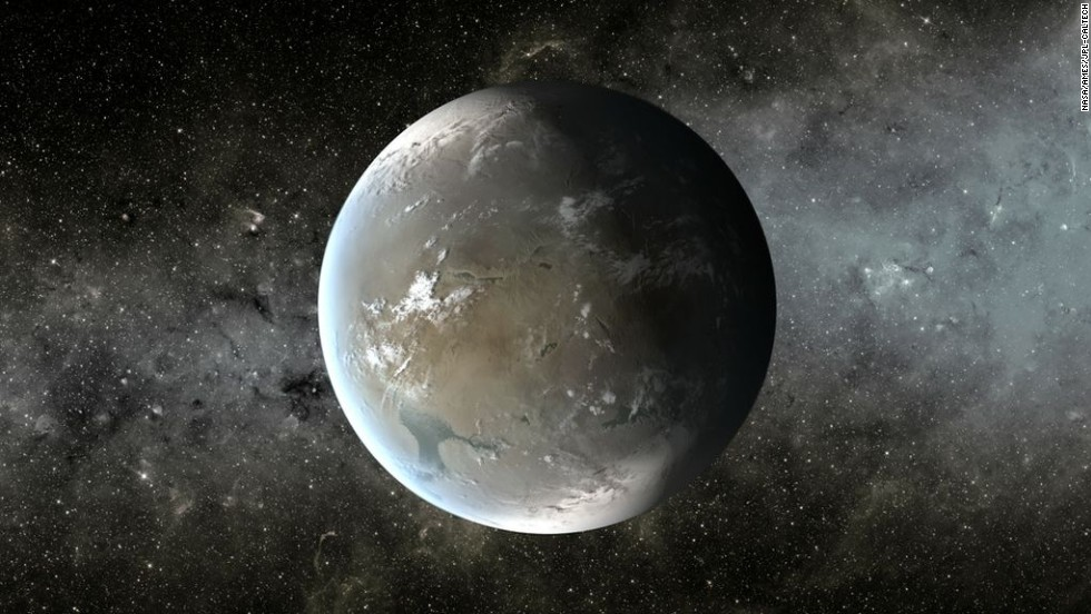 This illustration depicts Kepler 62f, a planet in the habitable zone of a star smaller and cooler than the sun, in the same system as Kepler 62e.