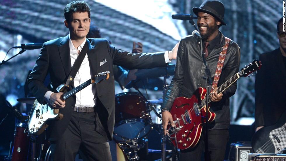 John Mayer, left, and Gary Clark Jr., perform onstage.