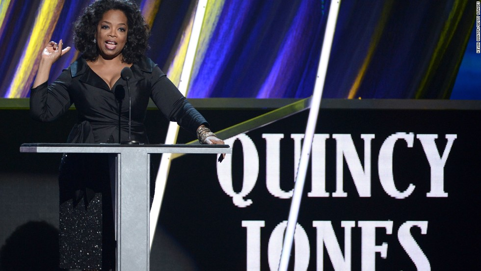 "Oprah Winfrey honors Quincy Jones, who cast her in ""The Color Purple."""