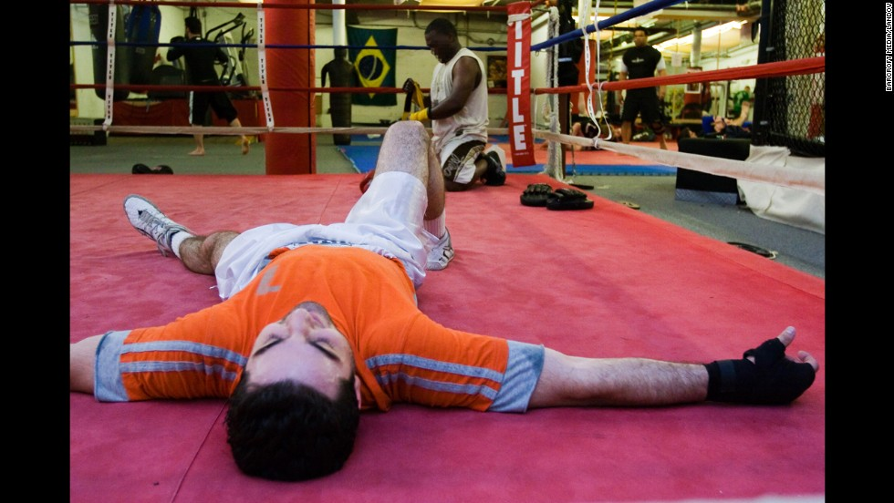 Tsarnaev practices boxing at the Wai Kru Mixed Martial Arts center.