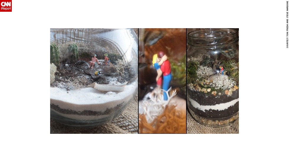 "Toni Freda and Steve Nardone shared these photos of <a href=""http://ireport.cnn.com/docs/DOC-959897"">two terrarium displays</a>. At left is ""Beach Day with Papa,"" and ""Reasons of Love"" is on the right."