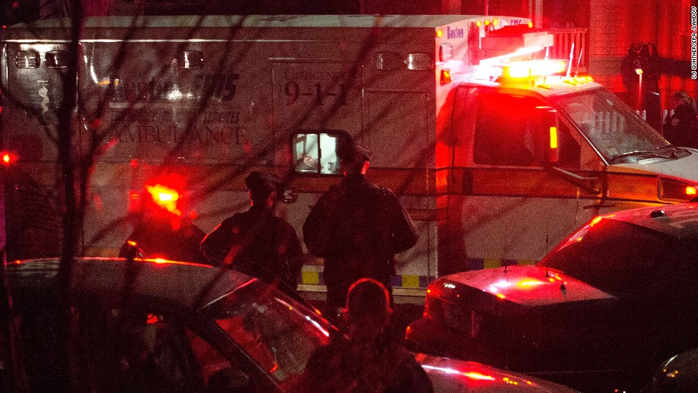An ambulance carries Boston Marathon bombing suspect Dzhokhar Tsarnaev, 19, from the scene after he was apprehended in Watertown, Massachusetts, on April 19.