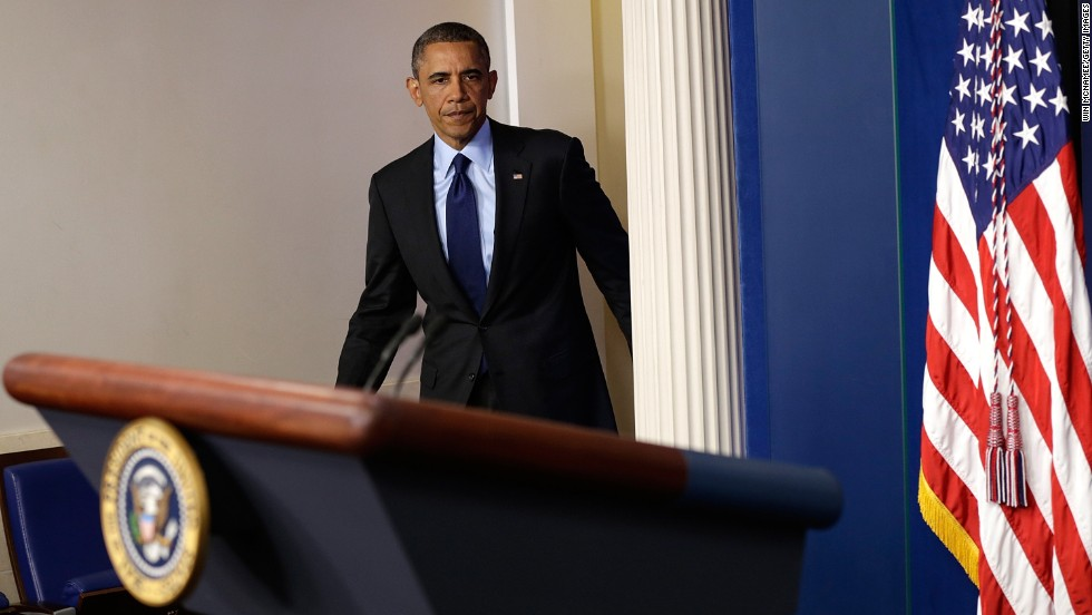 "President Barack Obama arrives in the White House briefing room to make a statement late April 19 about the capture of Dzhokhar Tsarnaev. ""We've closed an important chapter in this tragedy,"" he said."