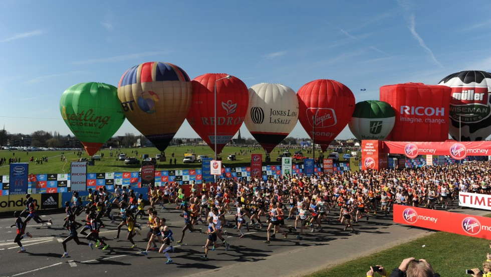 Start of the Elite Men in the Virgin London Marathon 2013 on Blackheath Common on April 21, 2013 in London, England.
