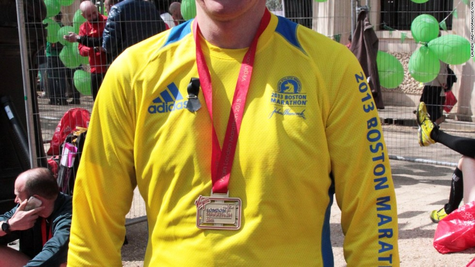 Several marathon runners also competed in the Boston Marathon Monday and wore their shirts in London.