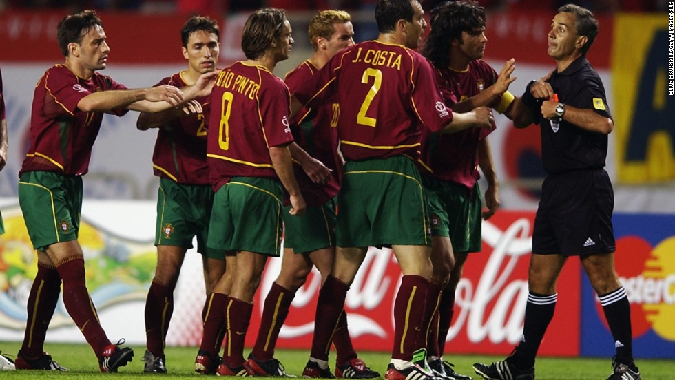 Portugal's Joao Pinto drew criticism during the 2002 World Cup after punching a referee in the stomach. Pinto, who had been given a red card during the match against tournament co-hosts South Korea, was suspended for six months by football's global governing body FIFA.