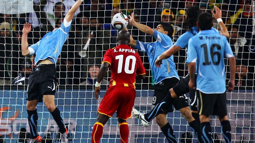 Suarez's reputation as a pantomime villain dates back to the 2010 World Cup in South Africa. The striker used his hand to block a goal-bound shot in the last minute of extra-time in a quarterfinal tie between Uruguay and Ghana. Suarez was given a red card and Ghana were awarded a penalty. But Asamoah Gyan missed the spot kick and Uruguay won the resulting penalty shootout to reach the semifinals, breaking African hearts in the process. Suarez also has previous when it comes to biting opponents, after he bit PSV's Otman Bakkal while playing for Ajax in November 2010. He was given a seven-match ban.
