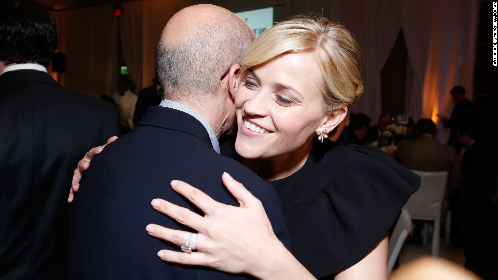 """I get hugged a lot,"" <a href="" http://www.vogue.com/magazine/article/reese-witherspoon-a-day-at-the-circus/#1"" target=""_blank"">she told Vogue</a> in 2011. ""Which is fun. Mostly it's all good, positive energy that comes to me. I like people."" Here she hugged DreamWorks Animation CEO Jeffrey Katzenberg and at the 7th Annual March of Dimes Celebration of Babies, a Hollywood Luncheon, in 2012."