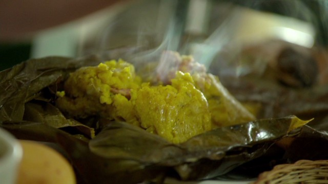 A tamale served at a restaurant in the La Calendaria section of Bogota, Colombia. From Episode 3 of Anthony Bourdain Parts Unkown