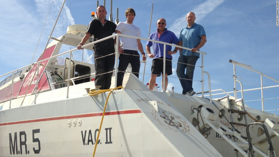 That was until British boat builder Dan Stevens (far right) got his hands on it. The former naval officer now plans to restore the historic vessel to her former glory, touring her across the UK.