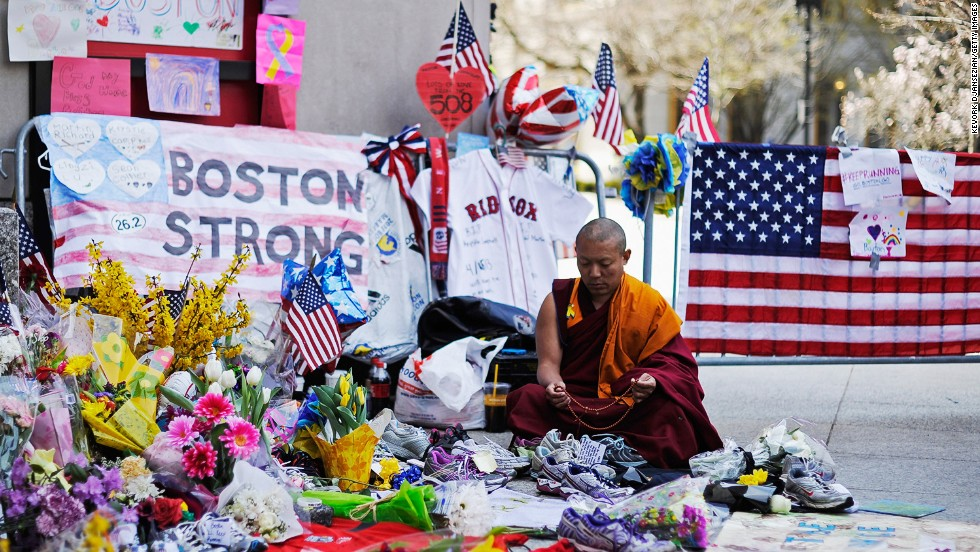 A Buddhist at a memorial during a moment of silence near the finish line of the Boston Marathon on April 22.