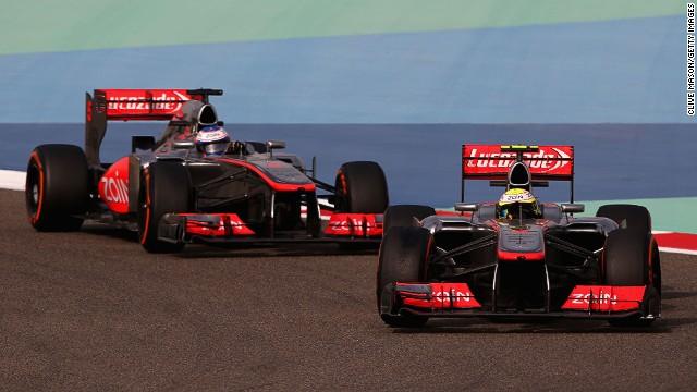 McLaren's Sergio Perez leads teammate Jenson Button during the Bahrain Grand Prix at Sakhir on Sunday.