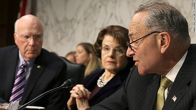 Senator Charles Schumer (far R)  speaks during a Senate Judiciary Committee hearing on Monday in Washington, DC.