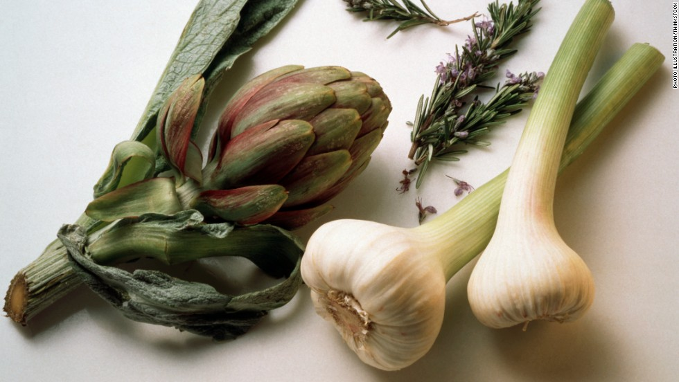Artichokes are loaded with magnesium, a mineral vital for generating energy. And spring garlic's allicin may keep you from overeating by stimulating satiety in the brain.