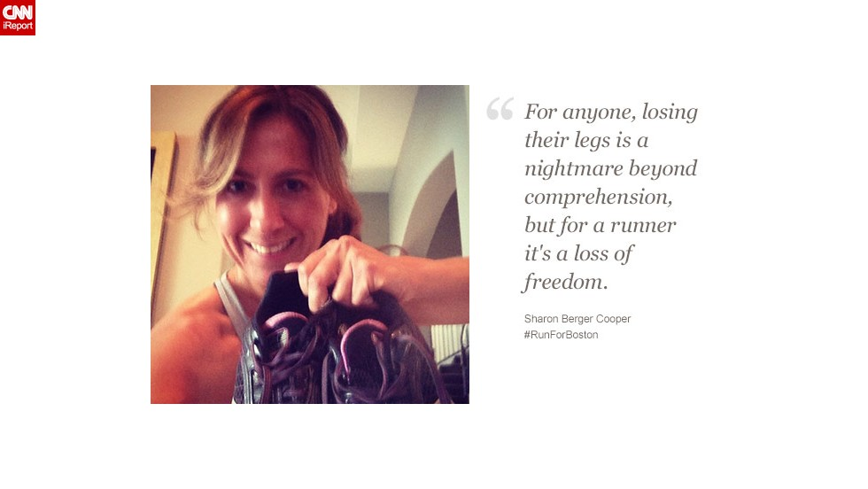 Sharon Berger Cooper, 40, from Parkland, Florida, said the tragedy in Boston made her more grateful for her health and ability to run.