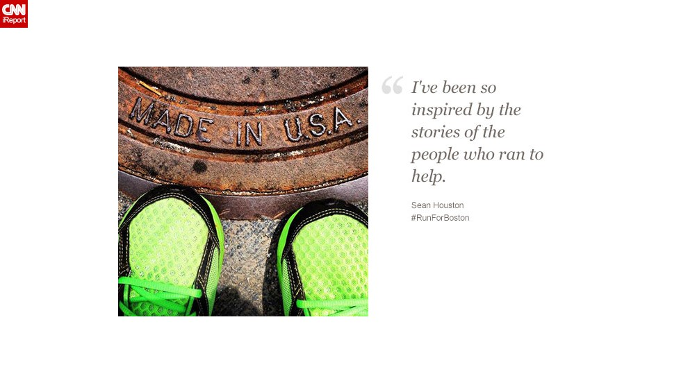 """Sean Houston, a CNN employee in Atlanta, says people who helped victims in Boston """"remind us of the best of America."""""""
