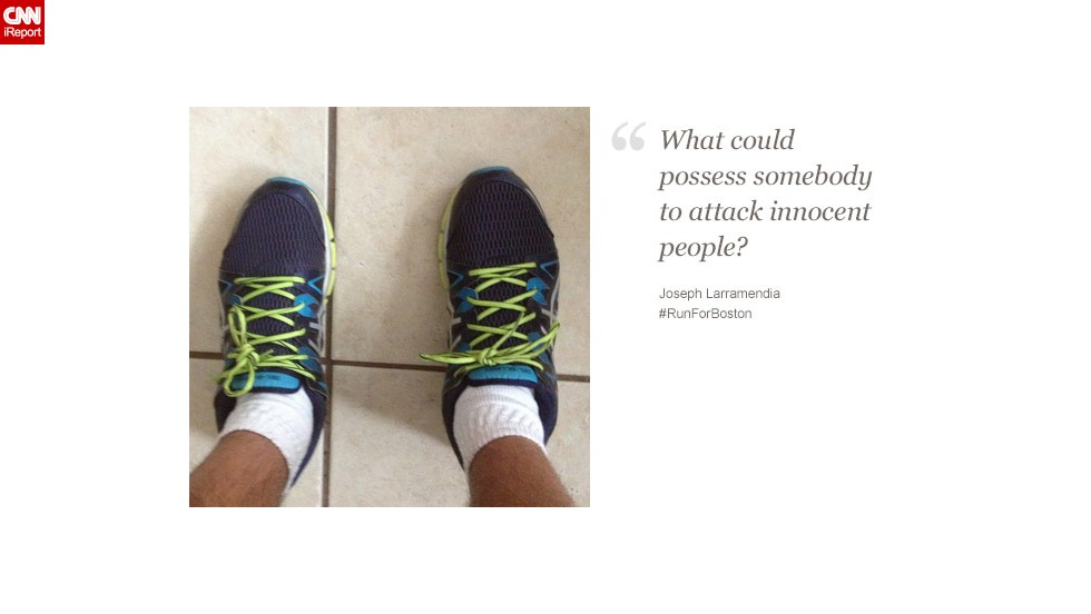 """Joseph Larramendia, 24, from New Jersey, wants to run to demonstrate how """"strong and resilient"""" Americans are."""