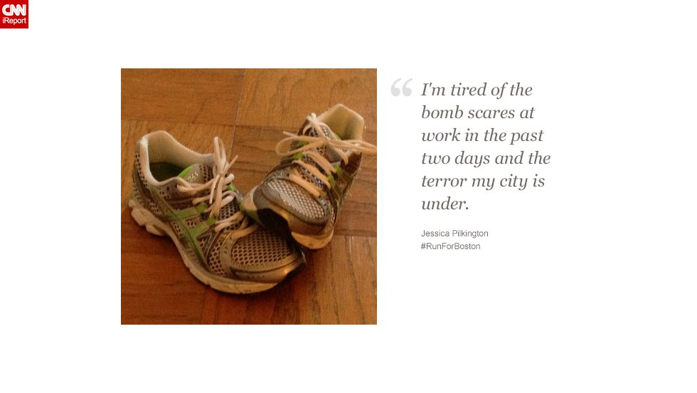 """""""I'd like to show marathon runners and those watching that I'm inspired by so many of them,"""" said Jessica Pilkington, a 27-year-old who works in Boston."""