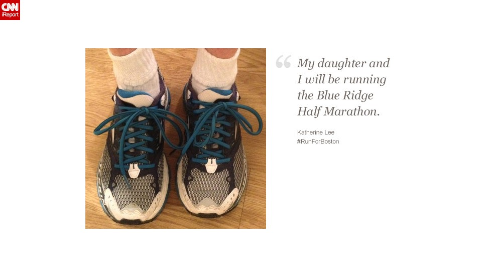 """Katherine Lee, a 52-year-old from Missouri, and her daughter have been to the Boston Marathon before. They're running with Boston """"on our minds and in our hearts."""""""