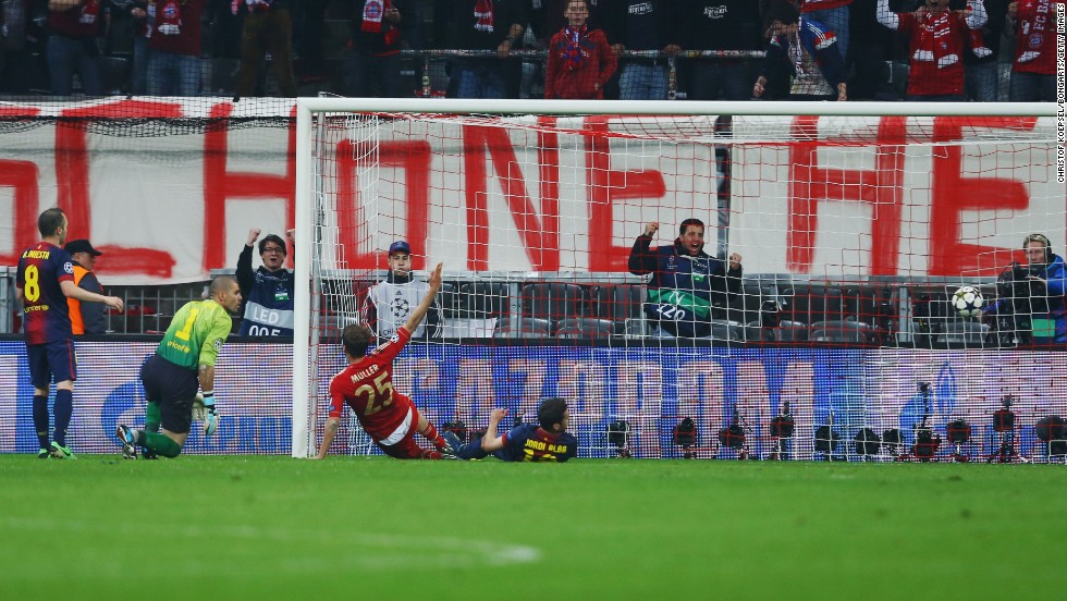 Bayern star Muller slid in to convert David Alaba's cross and round off an astonishing 4-0 win for the home side.