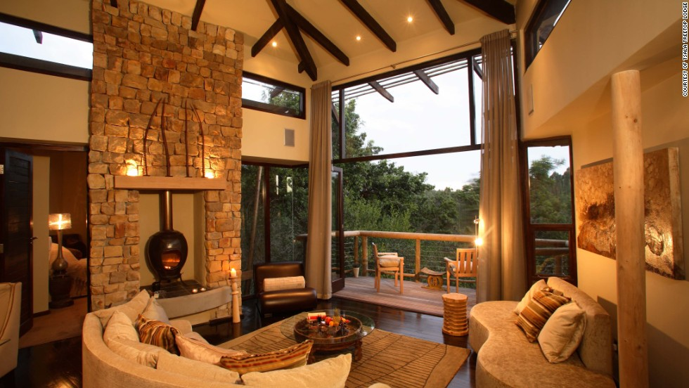 Each tree-house suite at the Tsala Treetop Lodge at Plettenberg Bay in South Africa has floor-to-ceiling bedroom windows, a private deck and a pool.