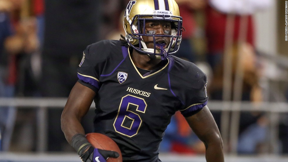 Cornerback Desmond Trufant of the Washington Huskies celebrates after intercepting a pass against Stanford on September 27, 2012, at CenturyLink Field in Seattle.