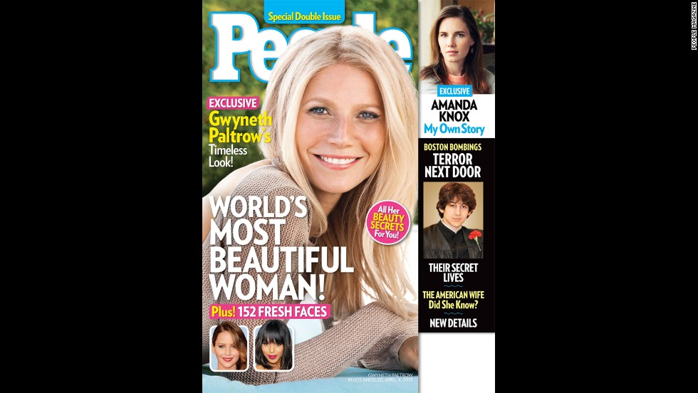 Gwyneth Paltrow lands on the cover of People magazine, earning the title of World's Most Beautiful Woman. The actress tells the magazine that at first she thought someone was playing a joke on her.