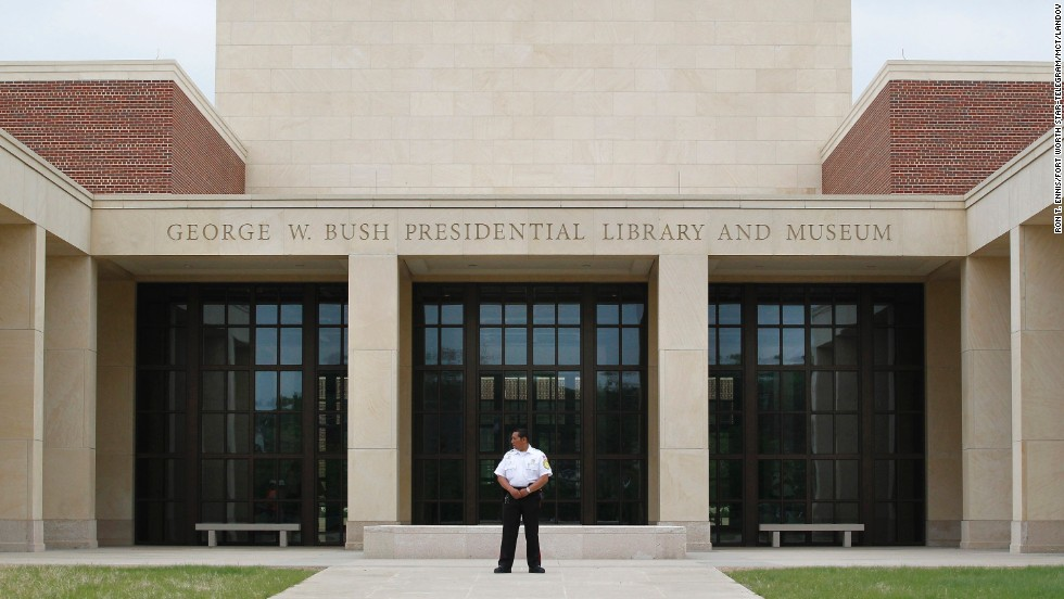 A security guard stands in front of the George W. Bush Presidential Library and Museum, part of the George W. Bush Presidential Center on the Southern Methodist University campus in Dallas, on Tuesday, April 16.
