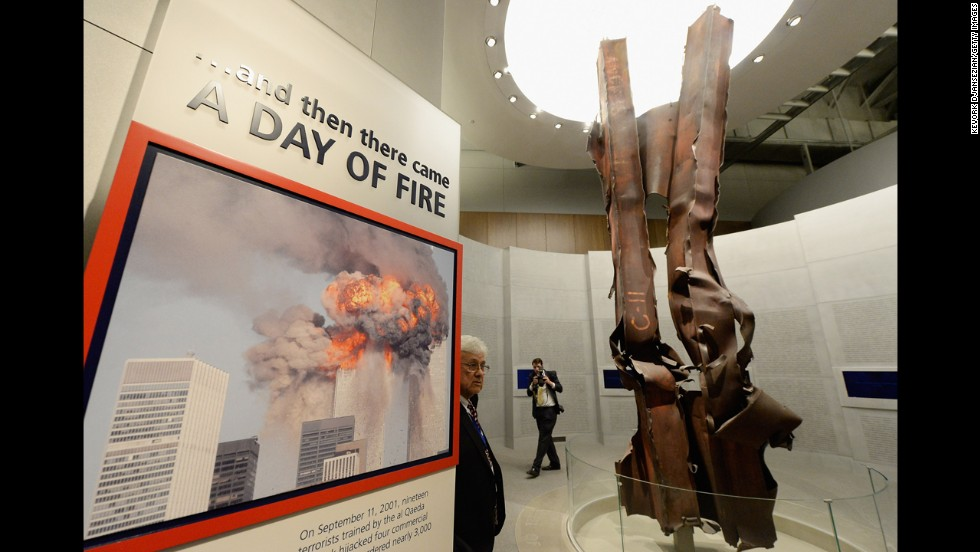 Steel beams from the World Trade Center are displayed in the September 11 portion of the George W. Bush Presidential Center on Wednesday, April 24.