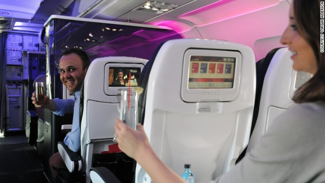 Virgin America gets top marks for its seating and in-flight entertainment.