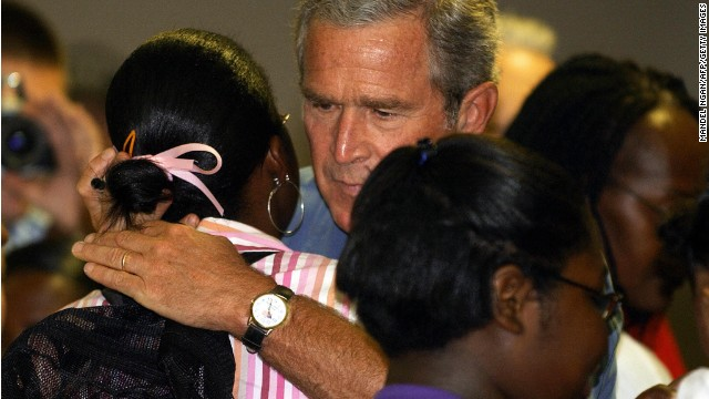 President Bush hugs a Hurricane Katrina survivor in September, 2005, at a shelter in Baton Rouge, Louisiana.
