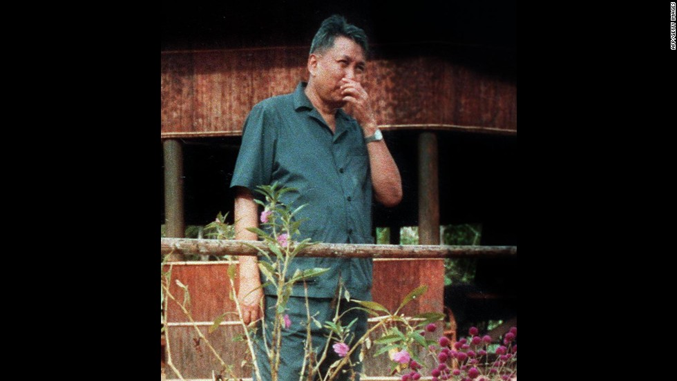 This undated photo, which may have been taken in 1989, shows Pol Pot, the former leader of the Khmer Rouge. He was under house arrest when he died in 1998 and never faced charges for the slaughter under his reign.
