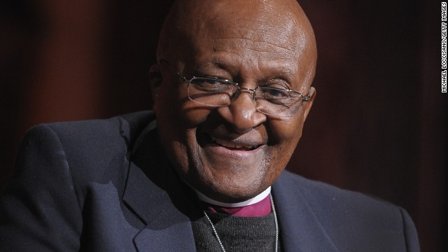 Archbishop Desmond Tutu takes part in a Q&A during the 2012 Global Leadership Awards Dinner at Cipriani 42nd Street on October 16, 2012 in New York City.