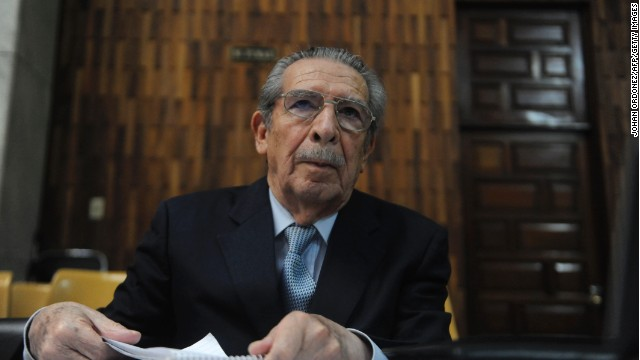 Former Guatemalan dictator General Jose Efrain Rios Montt, listens to a judge in Guatemala City on April 19, 2013.