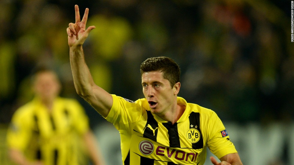 Just five minutes later Lewandowski made it 3-1 when he showed remarkable skill to turn inside the penalty area and lash the ball home past the helpless Diego Lopez.  The Poland international is the first man to score a hat-trick against Real in the Champions League.