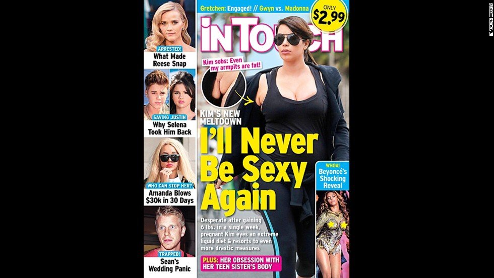 "So, apparently In Touch Weekly is actually the Kim Kardashian Pregnancy Diary. For another week, the magazine is pointing out that yes, pregnant women do gain weight -- the sort of headlines <a href=""http://www.hlntv.com/video/2013/04/24/sbt-kim-kardashian-trainer-tracy-anderson-pregnancy-weight"" target=""_blank"">that have prompted her trainer, Tracy Anderson, to come to her defense</a>."