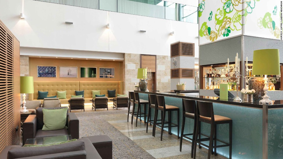 The Perrier-Jouët Bar at the Sofitel London Heathrow offers an extensive champagne list as well as other after-work beverages.