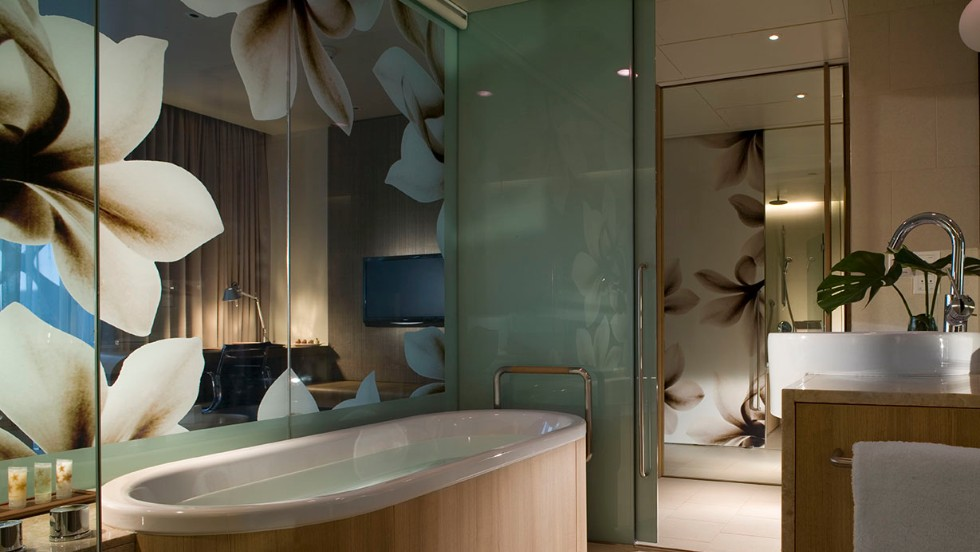 The Crowne Plaza Changi Airport in Singapore offers an outdoor pool, a gym and four spa treatment rooms, or weary travelers can stay in their own room for a soothing soak.