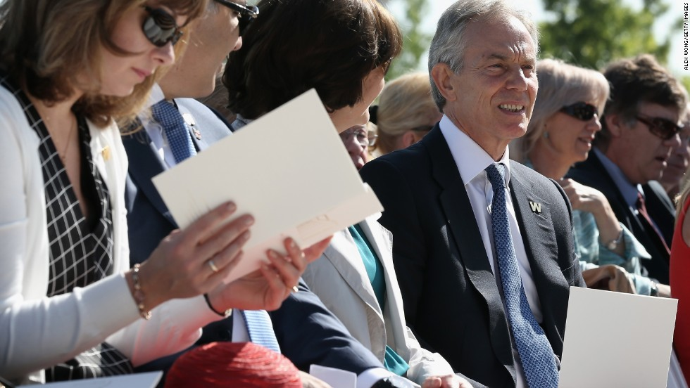 Former UK Prime Minister Tony Blair attends the ceremony.
