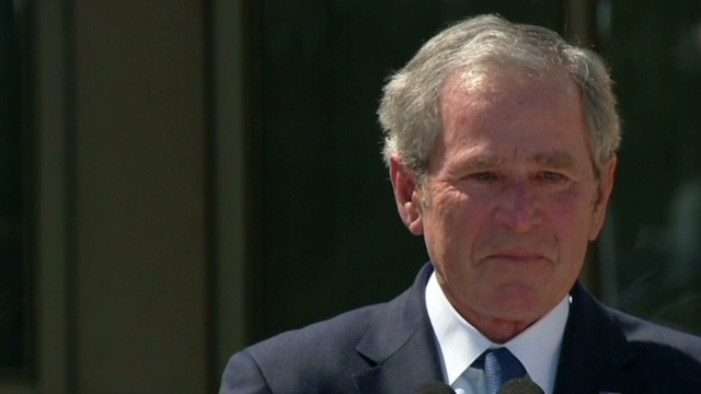 Bush teary-eyed at library unveiling