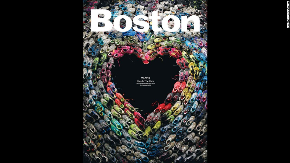 Boston shows its resilience and heart with signs of support for the marathon bombing victims, including this cover from the new issue of Boston magazine.