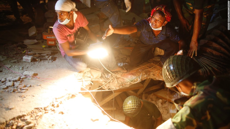Rescue workers search the rubble for victims and survivors on April 26.