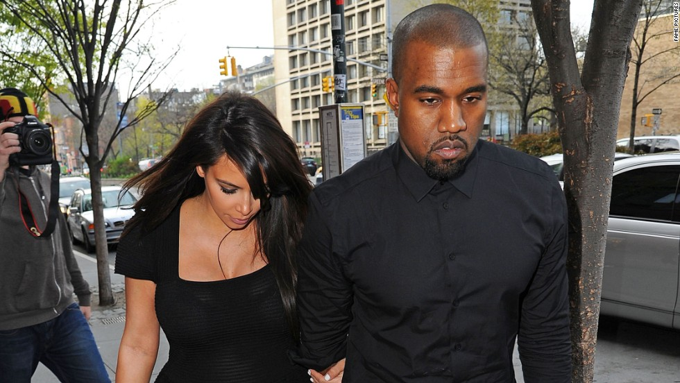 Kanye West and Kim Kardashian step out in New York City on April 24.