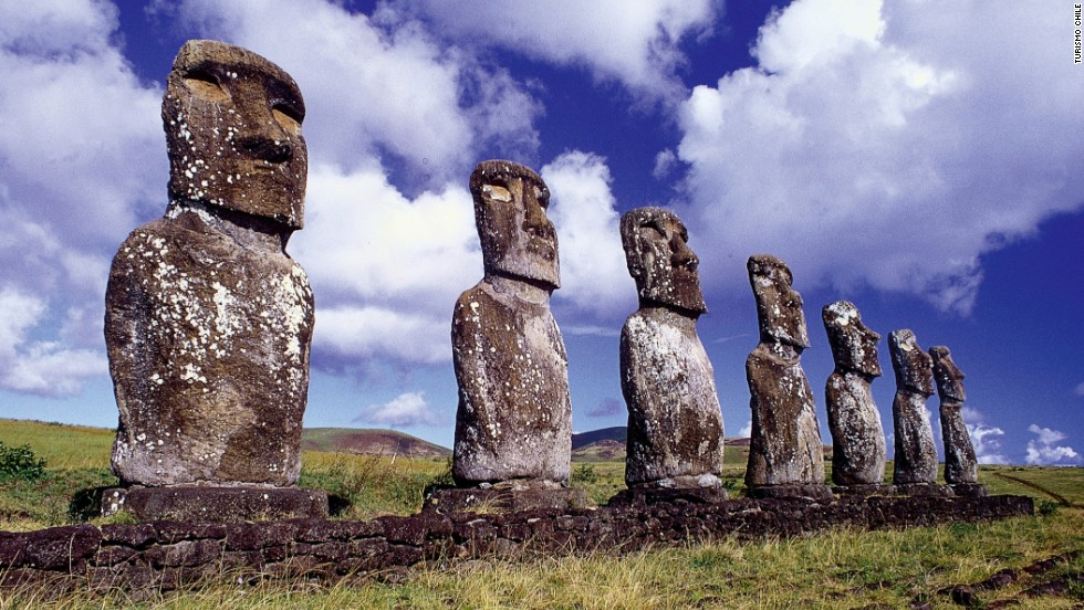 Easter Island, or Hanga Roa, is the most remote inhabited island on the planet. Carved from solid basalt between the 13th and 16th centuries, the group of more than 800 massive stone monuments known as moai scattered across the volcanic landscape are the legacy of a Polynesian society that settled here around 300 AD.