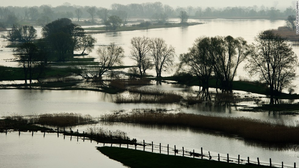 Fields and meadows are flooded by the waters from the Oder River near Lebus, Germany, close to the border with Poland, on April 26. The meadows along the Oder are regularly flooded during spring.