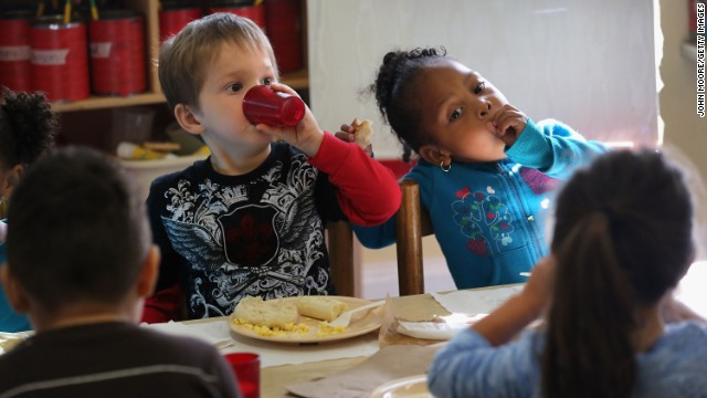 Children eat at a Head Start school in Woodbourne, New York, which provides early education to kids from low-income families.