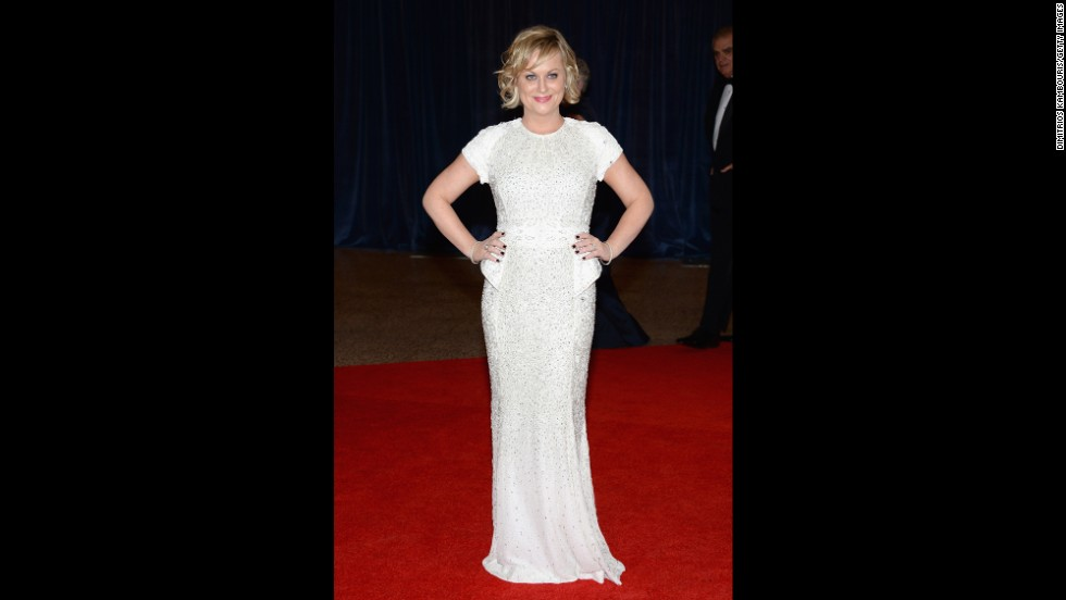 "Amy Poehler, from ""Parks and Recreation,"" poses on the red carpet."
